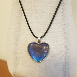 Blue Heart On Rope Chain Necklace
